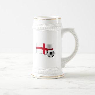 Caneca De Cerveja Bandeira e bola do futebol de Inglaterra