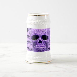 Caneca De Cerveja Colagem roxa celta do crânio
