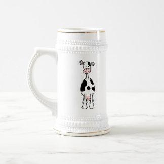 Caneca De Cerveja Desenhos animados preto e branco da vaca. Parte