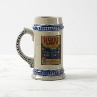 Caneca De Cerveja Etiqueta de prata da arte do álcool do vintage do