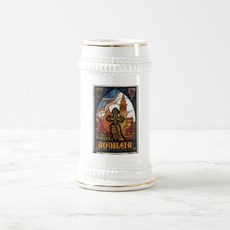 Caneca De Cerveja Impressões retros do anúncio do poster das viagens