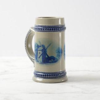 Caneca De Cerveja Moinho de vento azul de delft, cavalo azul de