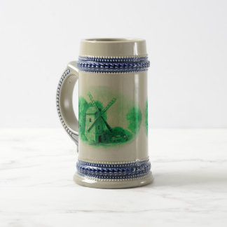 Caneca De Cerveja Moinho de vento verde de delft, cavalo verde de
