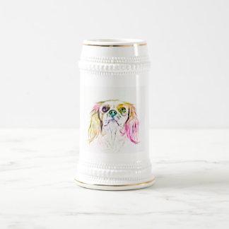Caneca De Cerveja Pintura descuidado da arte do cão do Spaniel de
