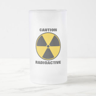 Caneca De Cerveja Vidro Jateado Amarelo radioativo e preto do reator nuclear