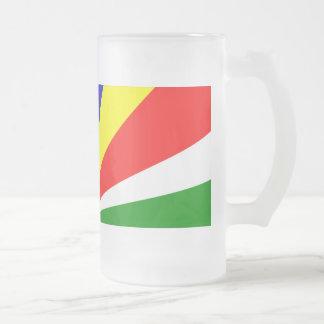 Caneca De Cerveja Vidro Jateado Bandeira de Seychelles