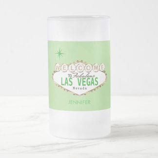 Caneca De Cerveja Vidro Jateado Boa vinda a Las Vegas - verde