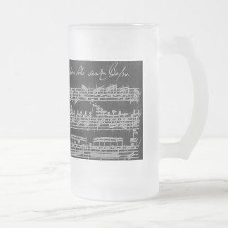 Caneca De Cerveja Vidro Jateado Branco de Bach Partita no preto
