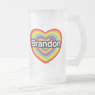 Caneca De Cerveja Vidro Jateado Eu amo Brandon: coração do arco-íris