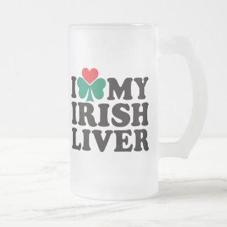 Caneca De Cerveja Vidro Jateado Eu amo meu fígado irlandês