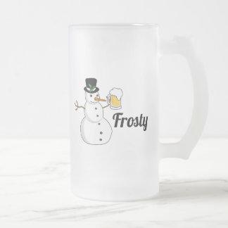 Caneca De Cerveja Vidro Jateado Gelado o boneco de neve