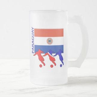 Caneca De Cerveja Vidro Jateado Jogadores de futebol - Paraguai