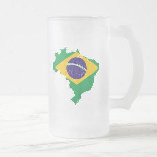 Caneca De Cerveja Vidro Jateado mapa da bandeira de Brasil