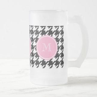 Caneca De Cerveja Vidro Jateado Monograma cor-de-rosa preto e branco de