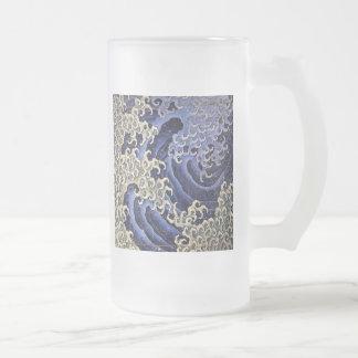 Caneca De Cerveja Vidro Jateado Onda masculino por Katsushika Hokusai