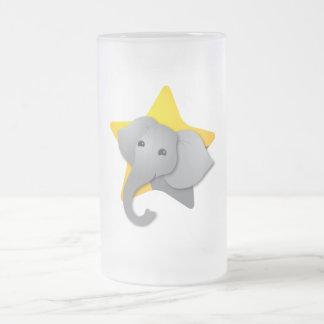 Caneca De Cerveja Vidro Jateado Surpresa cinzenta do elefante! estrela