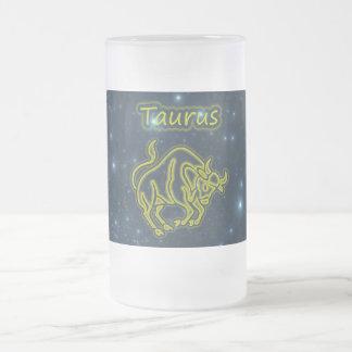 Caneca De Cerveja Vidro Jateado Taurus brilhante
