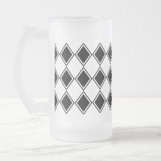 Caneca De Cerveja Vidro Jateado teste padrão preto e branco do diamante do