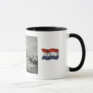 Caneca Design do Dutch do vintage, moinhos de vento de