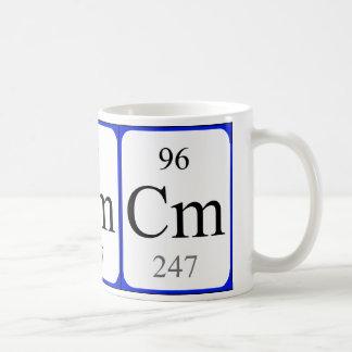 Caneca do branco do elemento 96 - cúrio