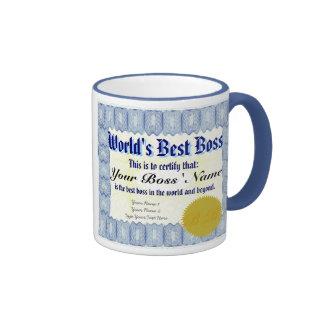 Caneca do certificado do chefe do mundo a melhor