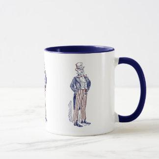 Caneca do copo de café do tio Sam do vintage