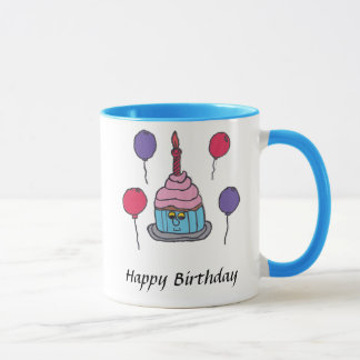 Caneca do feliz aniversario do cupcake de Kevin