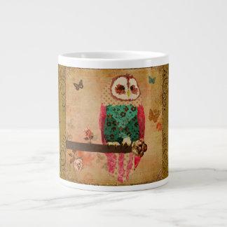 Caneca do ouro da coruja de Rosa Jumbo Mug