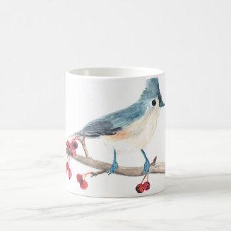 Caneca do pássaro da aguarela: Titmouse adornado