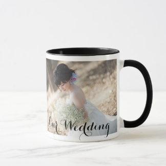 Caneca elegante do casamento com foto