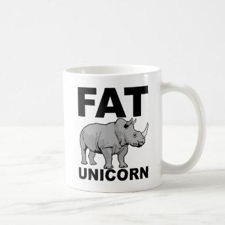 Caneca engraçada do rinoceronte gordo do unicórnio