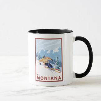 Caneca Esquiador da neve de Downhhill - Montana