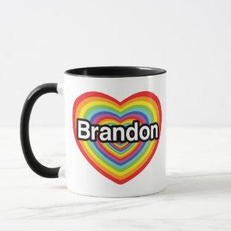 Caneca Eu amo Brandon: coração do arco-íris