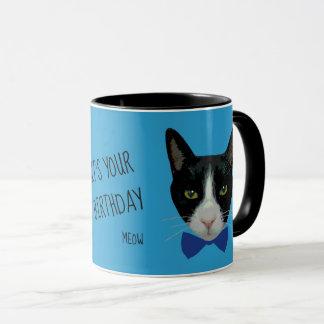 Caneca Gato preto e branco do smoking - é seu aniversário