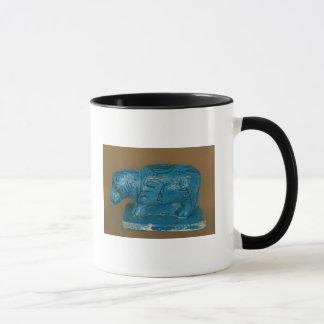 Caneca Hippopotamus azul com decoração preta