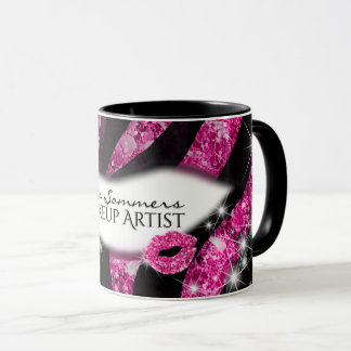 Caneca Impressão cor-de-rosa Glam da zebra dos lábios do