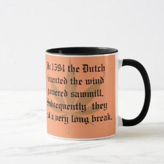 Caneca Invenções holandesas - a serração psta vento