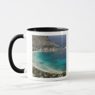 Caneca Italia, Sicília, Mondello, vista da praia de