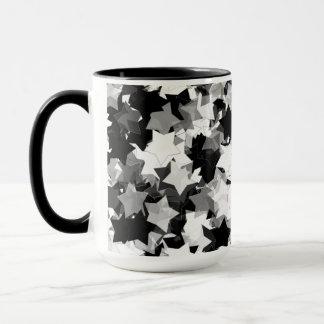 Caneca Kawaii preto e branco Stars o fundo