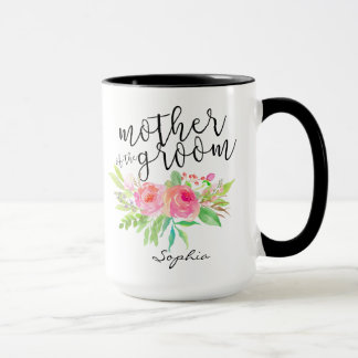 Caneca Mãe do floral de Groom|Watercolor personalizada