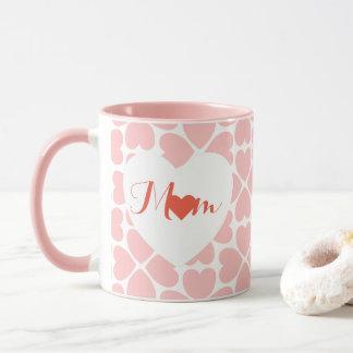 Caneca Mamã com corações do trevo da folha do rosa quatro