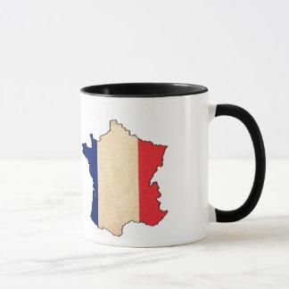 Caneca Mapa de France no preto da bandeira de France