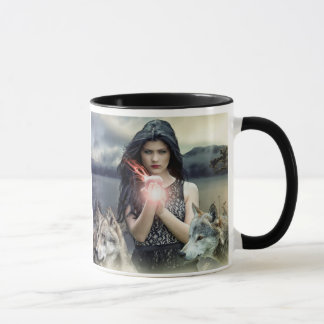 Caneca Menina gótico Mystical com lobos e luz mágica