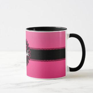 Caneca Monograma cor-de-rosa do inclinação