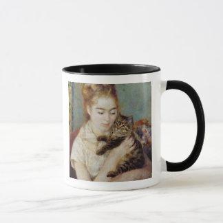 Caneca Mulher com um gato por Pierre-Auguste Renoir