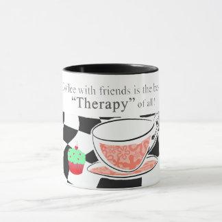 Caneca O café com amigos, é a melhor terapia