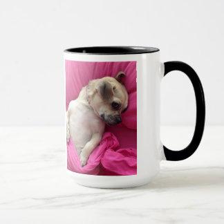 Caneca O rosa bonito do Chug do cão de filhote de