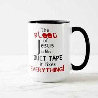 Caneca O sangue de Jesus é como a fita adesiva
