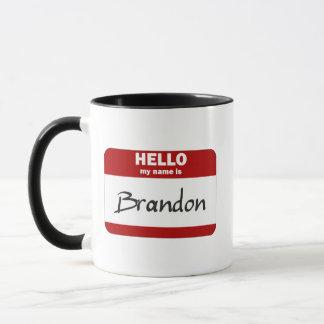 Caneca Olá! meu nome é Brandon (vermelho)