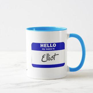 Caneca Olá! meu nome é Elliot (azul)